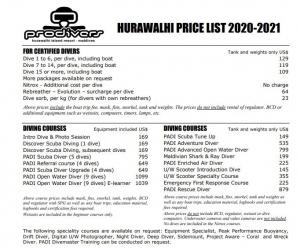 diving price list